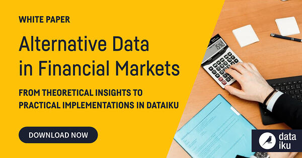 alternative data in finance white paper cover, hand with calculator and paperwork