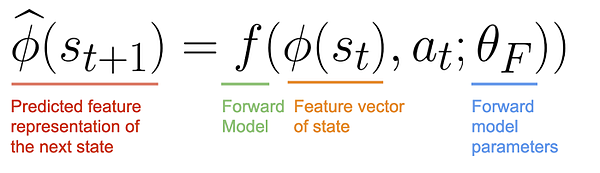 Forward model that predicts the feature representation of next state