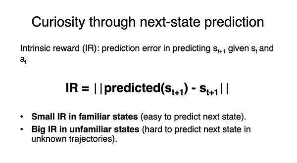 Curiosity through next state prediction