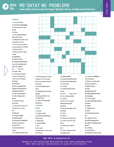 Dataiku Data sScience Crossword