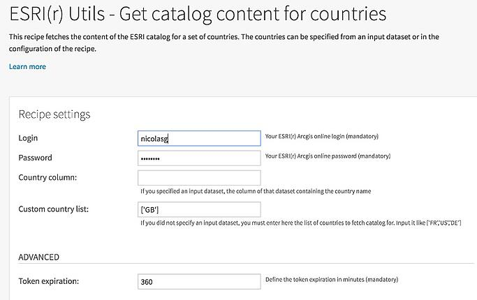 Catalog content for countries in Dataiku DSS