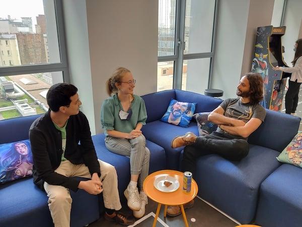 three engineers talking