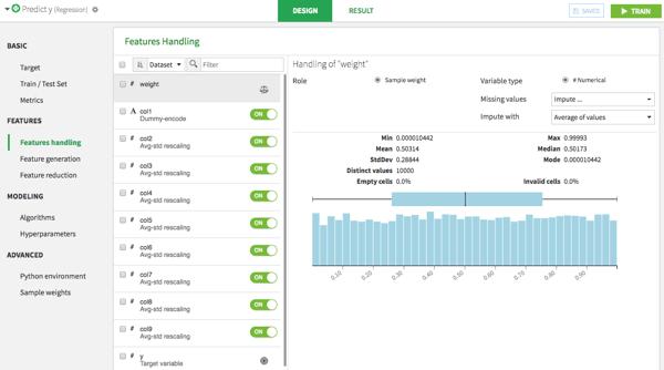 Dataiku DSS visual machine learning model features handling interface