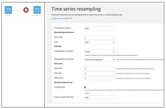 Dataiku time series resampling plugin