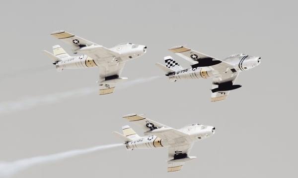 three military jets