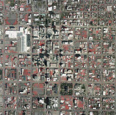13,000 detected cars in a 4 square kilometer area of Salt Lake City
