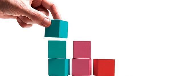 blue pink and red blocks