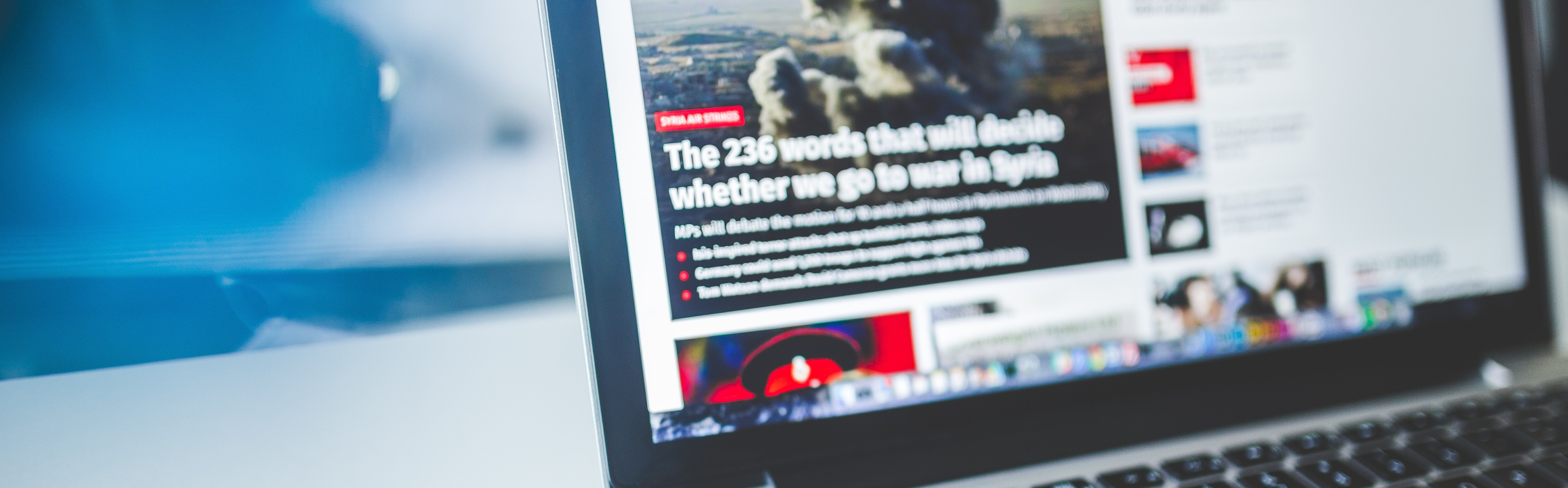 computer with browser open to news site
