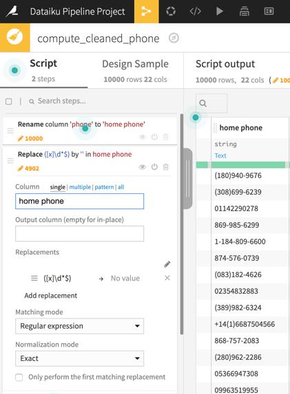 screenshot phone data cleaning in Dataiku DSS sample pipeline project