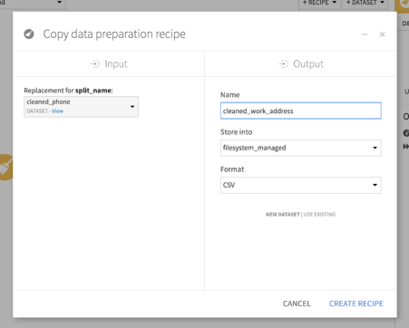 Dataiku Pipeline Project copy preparation recipe screenshot