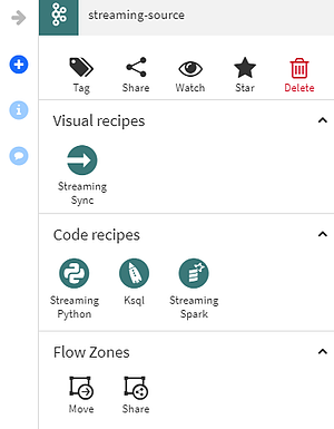 Code and visual Recipes in Dataiku for streaming