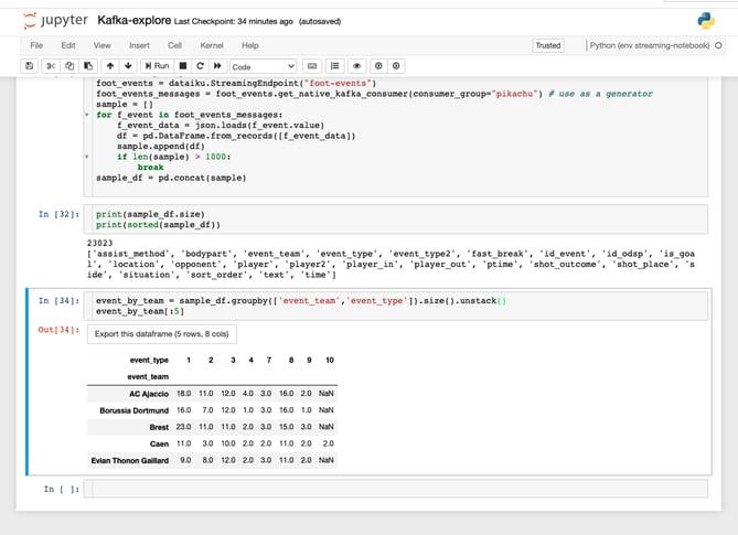 Analyzing streaming data in Dataiku