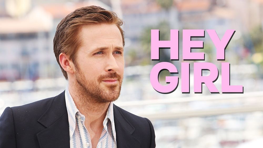 Ryan Gosling in a suit saying pick up lines