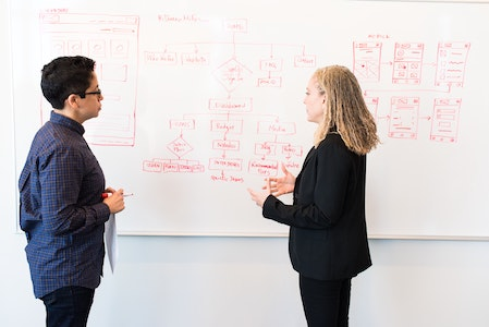 two colleagues at a whiteboard