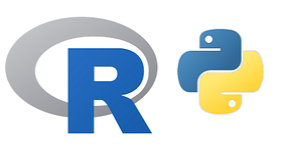 R and Python programming languages logos