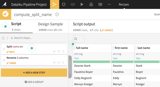 screenshot data cleaning recipe split name in Dataiku DSS sample pipeline project