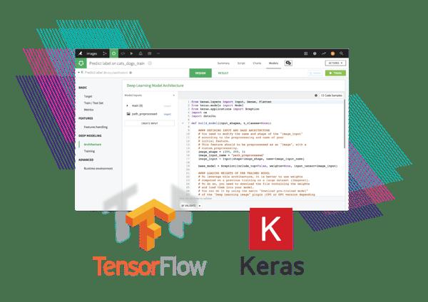 TensorFlow and Keras logos over Dataiku DSS interface screenshot