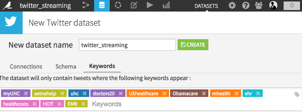 Setting up twitter keywords in Dataiku DSS (1/2)